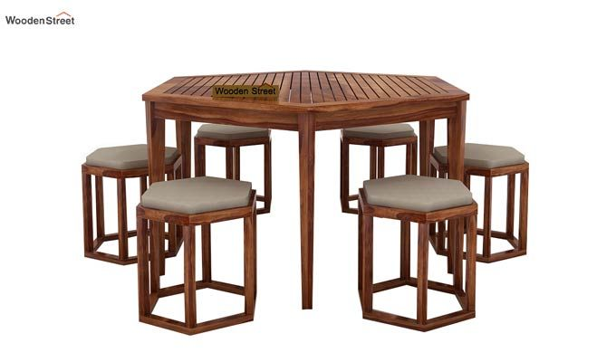 Mohave 6 Seater Dining Table Set (Teak Finish)-2