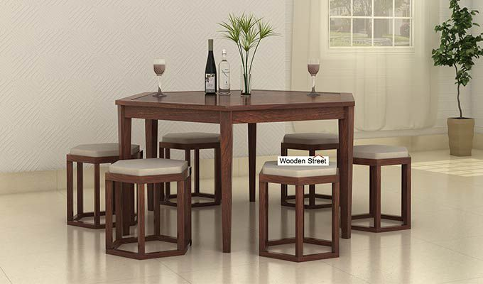Mohave 6 Seater Dining Table Set (Walnut Finish)-1