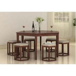 Mohave 6 Seater Dining Table Set (Walnut Finish)