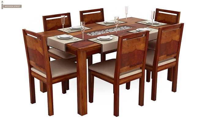 Orson Compact 6 Seater Dining Chair and Table (Honey Finish)-2