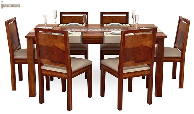 Orson Compact 6 Seater Dining Chair and Table (Honey Finish)-5