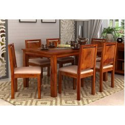 Orson Compact 6 Seater Dining Chair and Table (Honey Finish)