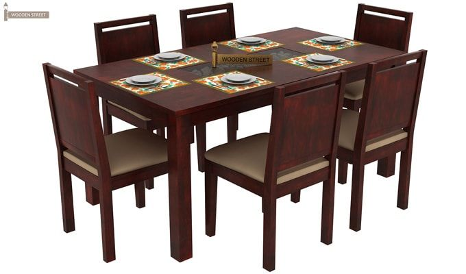 Orson Compact 6 Seater Dining Chair and Table (Mahogany Finish)-1