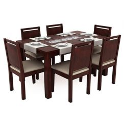 Orson Compact 6 Seater Dining Chair and Table (Mahogany Finish)