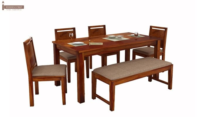Orson Compact 6 Seater Dining Set With Bench (Honey Finish)-2