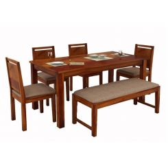 Orson Compact 6 Seater Dining Set With Bench (Honey Finish)