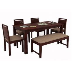 Orson Compact 6 Seater Dining Set With Bench (Mahogany Finish)