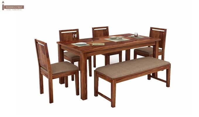 Orson Compact 6 Seater Dining Set With Bench (Teak Finish)-1