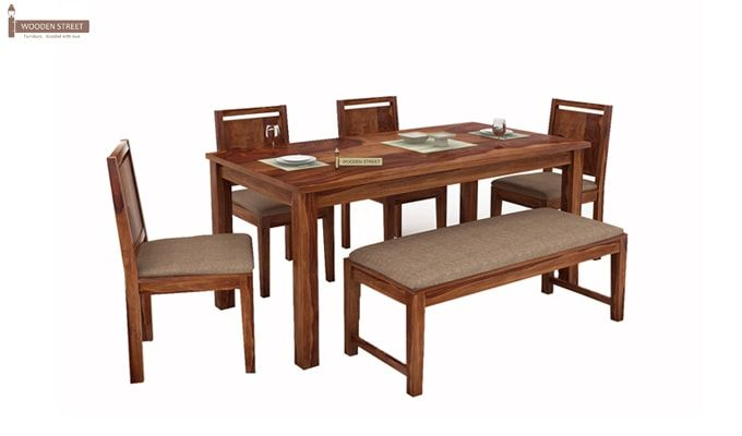 Orson Compact 6 Seater Dining Set With Bench (Teak Finish)-2