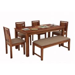 Orson Compact 6 Seater Dining Set With Bench (Teak Finish)