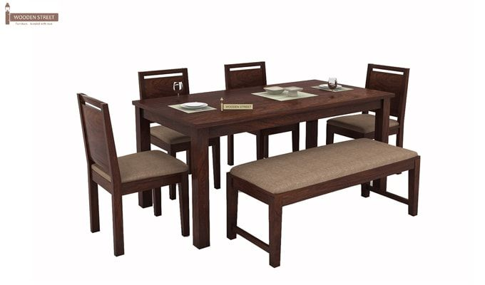 Orson Compact 6 Seater Dining Set With Bench (Walnut Finish)-2