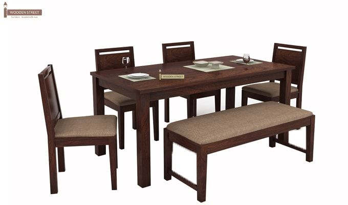 Orson Compact 6 Seater Dining Set With Bench (Walnut Finish)-3