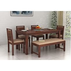 Orson Compact 6 Seater Dining Set With Bench (Walnut Finish)