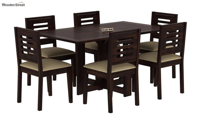 Paul 6 Seater Dining Set (Walnut Finish)-2