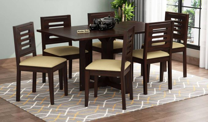 Paul 6 Seater Dining Set (Walnut Finish)-1