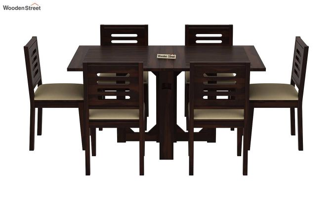 Paul 6 Seater Dining Set (Walnut Finish)-3