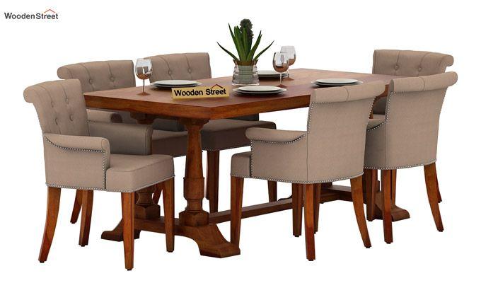 Redigo 6 Seater Dining Table Set (Honey Finish)-1