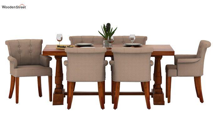 Redigo 6 Seater Dining Table Set (Honey Finish)-2