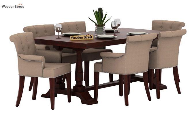 Redigo 6 Seater Dining Table Set (Mahogany Finish)-1