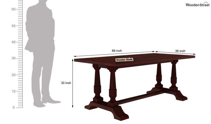Redigo 6 Seater Dining Table Set (Mahogany Finish)-7