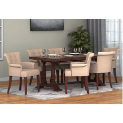 Redigo 6 Seater Dining Table Set (Walnut Finish)