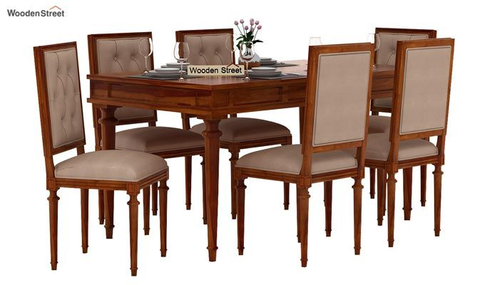 Rover 6 Seater Dining Set (Honey Finish)-2