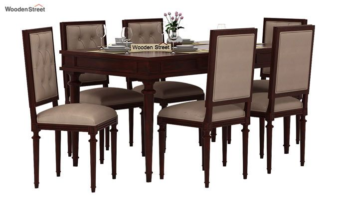 Rover 6 Seater Dining Set (Mahogany Finish)-1