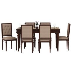 Rover 6 Seater Dining Set (Walnut Finish)