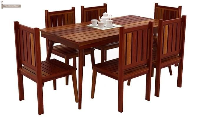 Dawson 6 Seater Dining Set (Honey Finish)-1