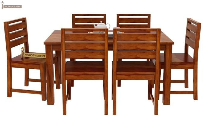 Steve Compact 6 Seater Dining Set (Honey Finish)-1