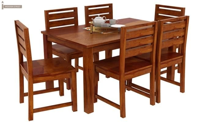 Steve Compact 6 Seater Dining Set (Honey Finish)-2