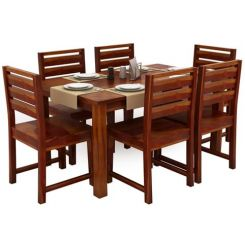 Steve Compact 6 Seater Dining Set (Honey Finish)