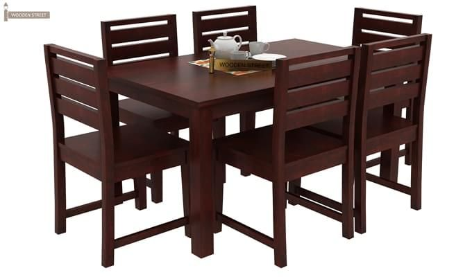 Steve Compact 6 Seater Dining Set (Mahogany Finish)-2
