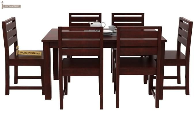 Steve Compact 6 Seater Dining Set (Mahogany Finish)-3