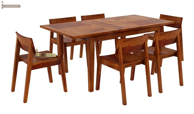 Tancy 6 Seater Extendable Dining Set (Honey Finish)-3