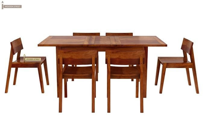 Tancy 6 Seater Extendable Dining Set (Honey Finish)-4