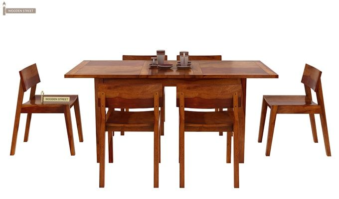 Tancy 6 Seater Extendable Dining Set (Honey Finish)-5