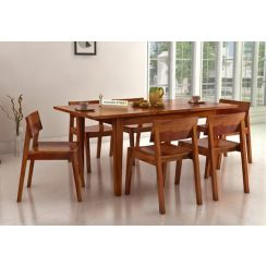 Tancy 6 Seater Extendable Dining Set (Honey Finish)