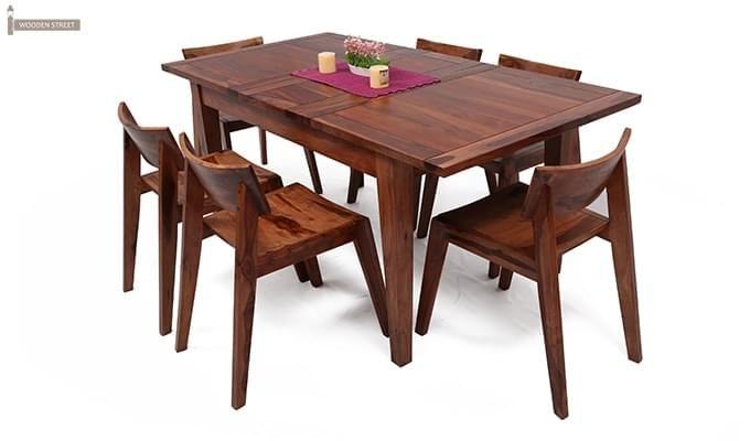 Tancy 6 Seater Extendable Dining Set (Teak Finish)-1