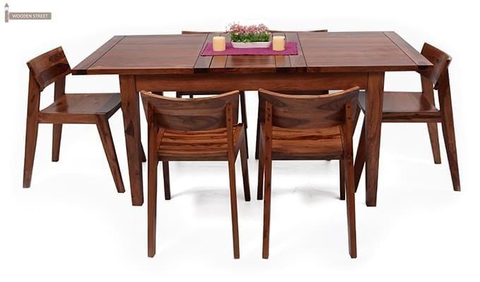 Tancy 6 Seater Extendable Dining Set (Teak Finish)-2