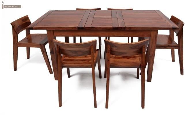 Tancy 6 Seater Extendable Dining Set (Teak Finish)-3