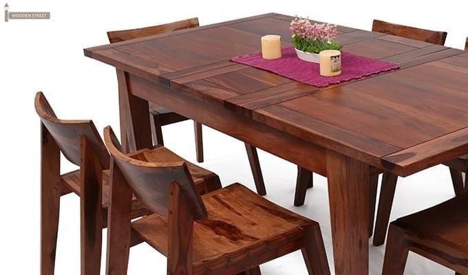 Tancy 6 Seater Extendable Dining Set (Teak Finish)-9