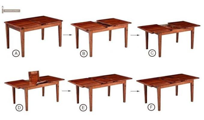 Tancy 6 Seater Extendable Dining Set (Teak Finish)-5