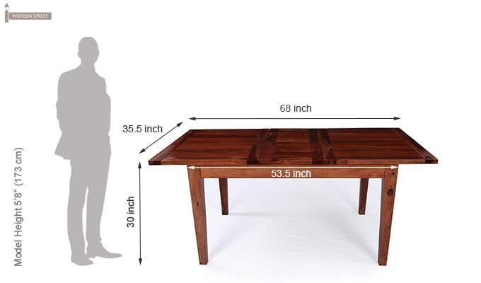 Tancy 6 Seater Extendable Dining Set (Teak Finish)-12