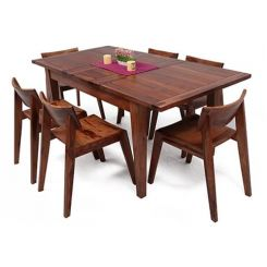 Tancy 6 Seater Extendable Dining Set (Teak Finish)