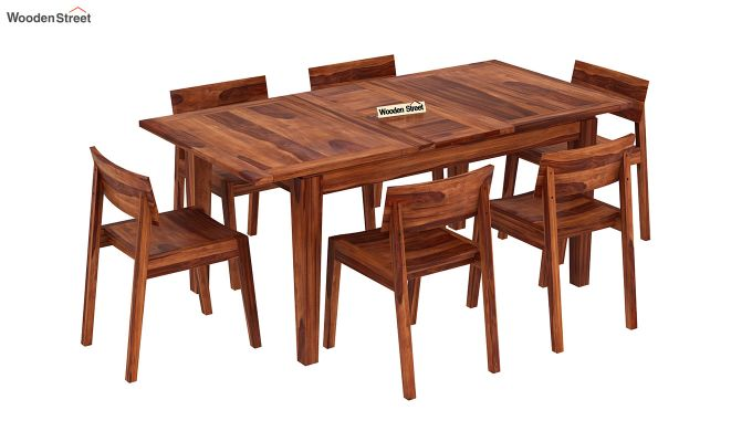 Tancy 6 Seater Extendable Dining Set (Honey Finish)-2