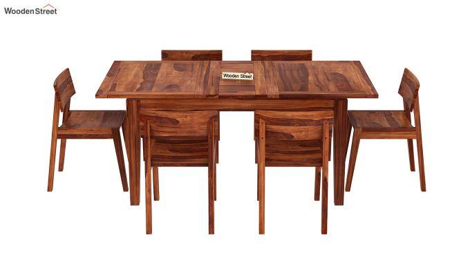 Tancy 6 Seater Extendable Dining Set (Honey Finish)-3
