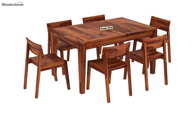 Tancy 6 Seater Extendable Dining Set (Honey Finish)-4