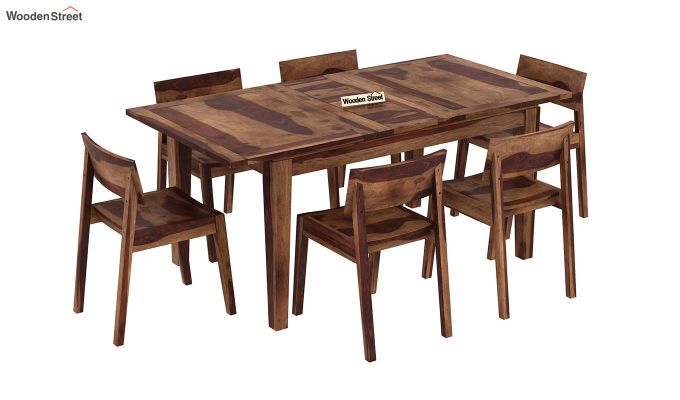 Tancy 6 Seater Extendable Dining Set (Teak Finish)-2