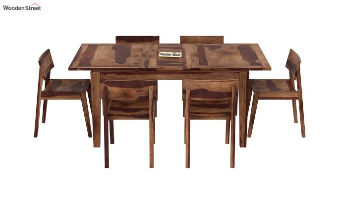 Tancy 6 Seater Extendable Dining Set (Teak Finish)-3